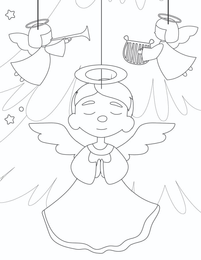 The only thing cuter than the angels in this Christmas tree ornaments coloring page are your kiddos!