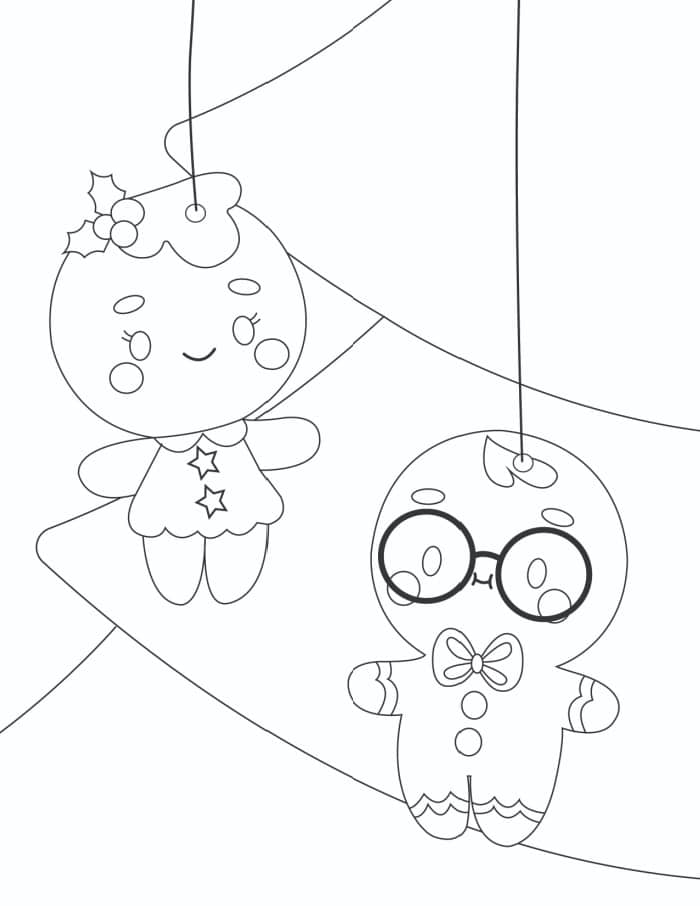 The cute gingerbread men in this Christmas ornaments coloring pages printable may inspire you to bake some cookies after all.