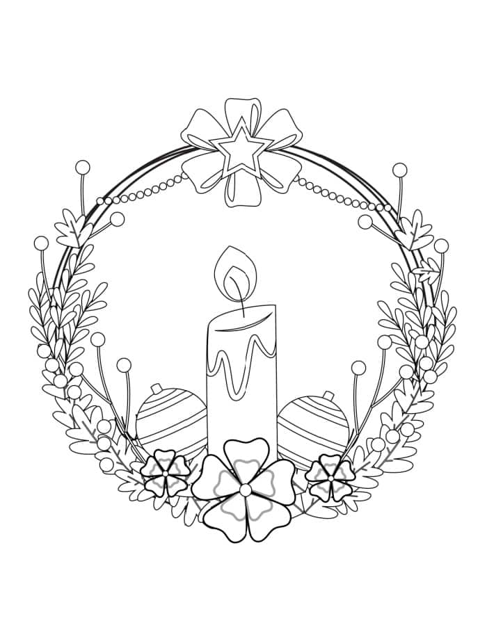Thanks to this free coloring page Christmas wreath printable, which features a candle, your holiday is sure to be merry & bright