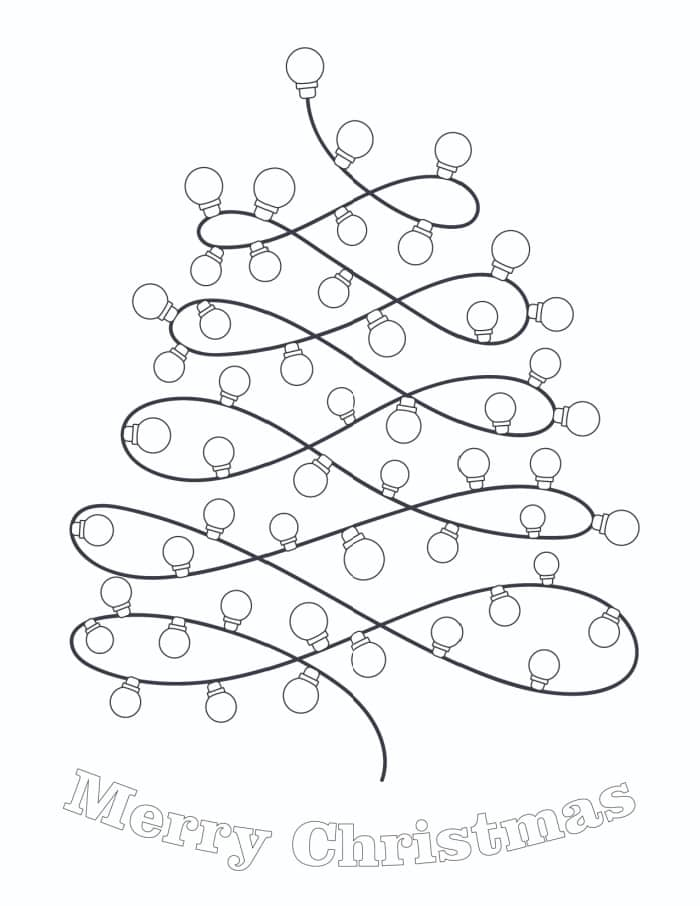 If your kiddo believes there are never enough lights on the tree, this Christmas light bulb coloring page is for them!