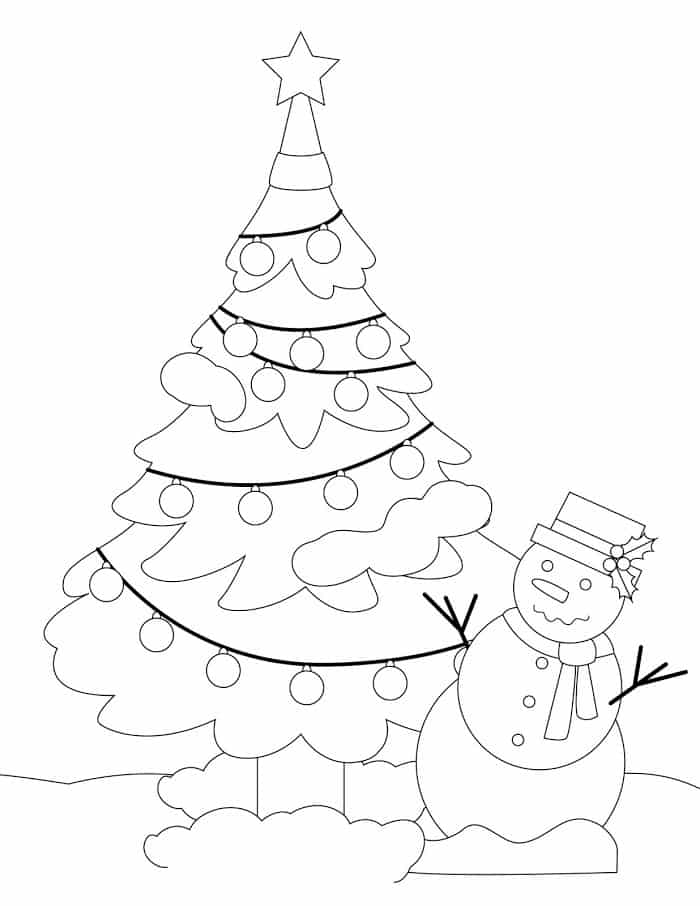 If you're looking to de-stress try these Christmas tree coloring pages for adults, like this one with a tree and snowman.