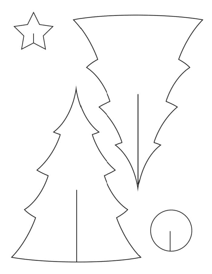 This free printable Christmas tree template easily becomes a 3D option simply by following the cut lines!