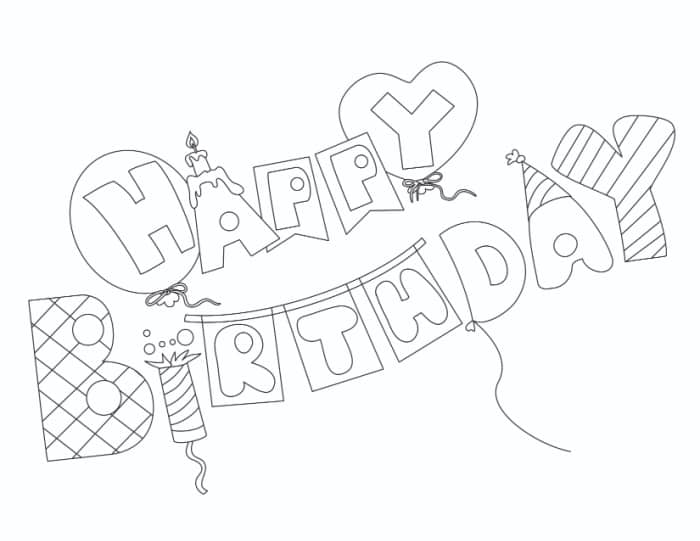 Complete with balloons, candles, party poppers, hats, and more—these happy birthday bubble letters are ready to party!