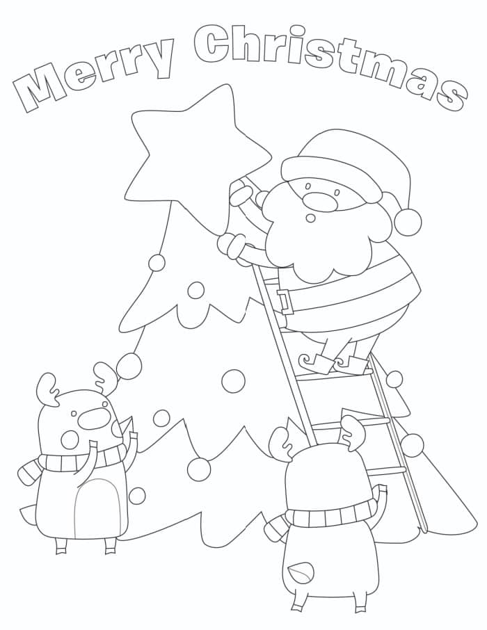 A sweet note makes this a  Merry Christmas mom coloring page; she's sure to appreciate how Santa & the reindeer work together!