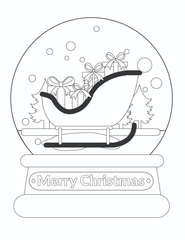 "This snow globe coloring page that say ""Merry Christmas"" is sure to be loved by the recipient."