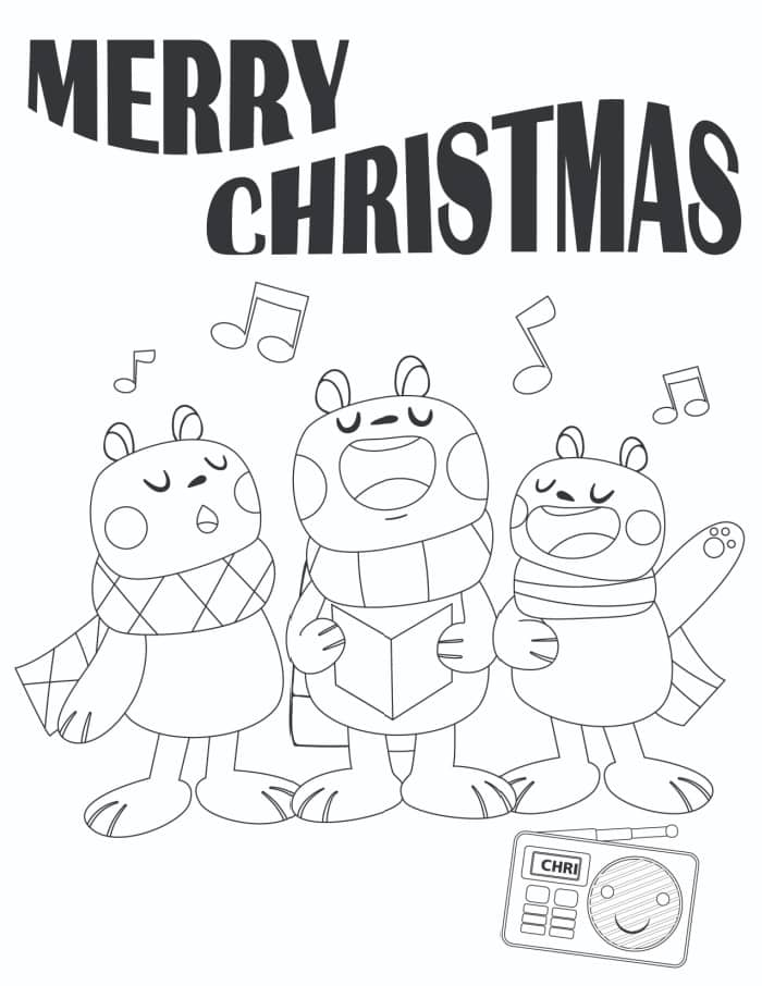 Sing it loud and proud is the theme of this Merry Christmas coloring page.