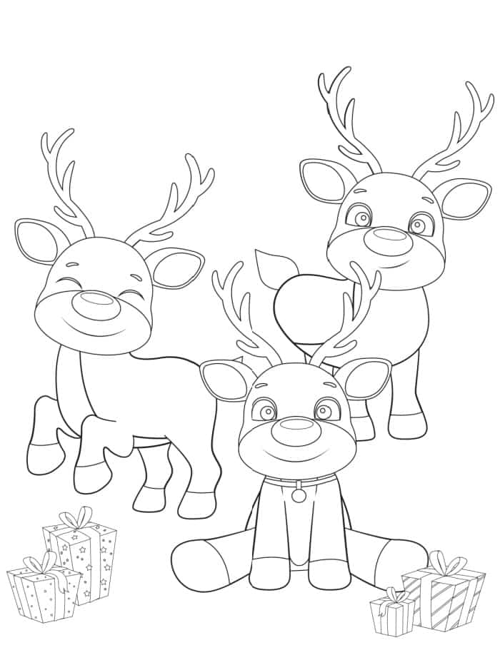 This printable reindeer coloring page has 3 reindeer plus gifts for a plethora of opportunities for your kid to get creative!
