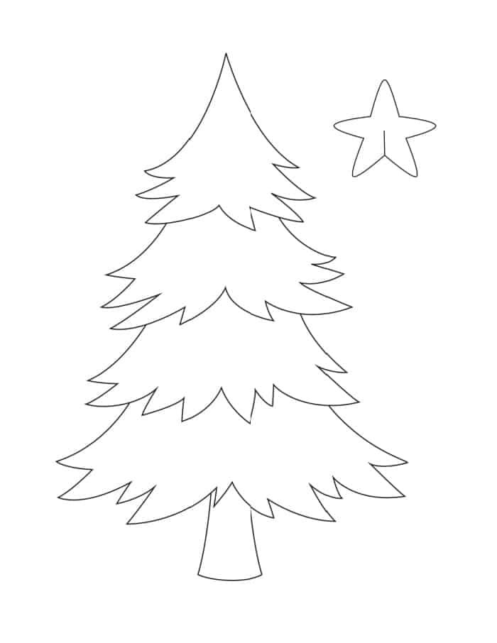 This simple printable template of a Christmas tree comes with an insertable tree topper.
