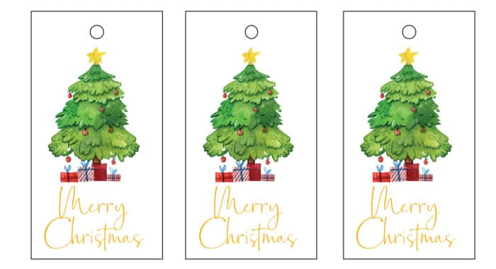 These simple Christmas tree printable Christmas tags work well for gifts for kids and adults alike.