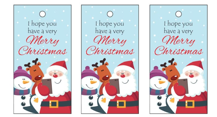 This Christmas gift tags printable features Santa with some of his buddies—a helpful reindeer and a snowman.