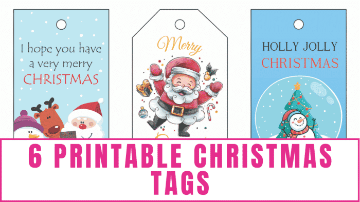 These 6 printable Christmas tags offer something for everyone—from santa to whimsical animals to classy Christmas decor