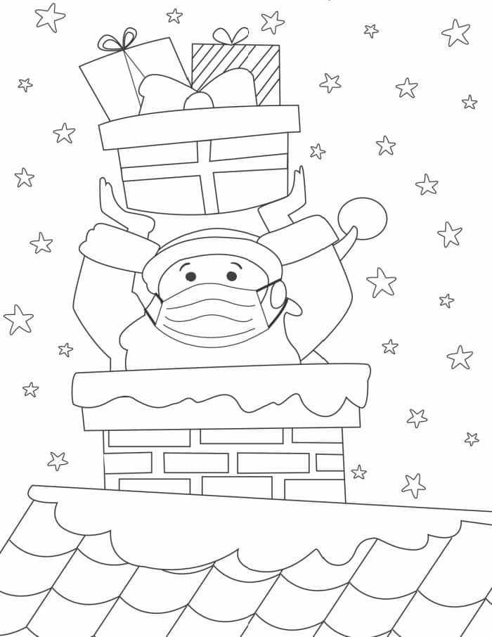 Last but not least of the santa printables is a 2020 appropriate coloring page featuring Santa wearing a mask.