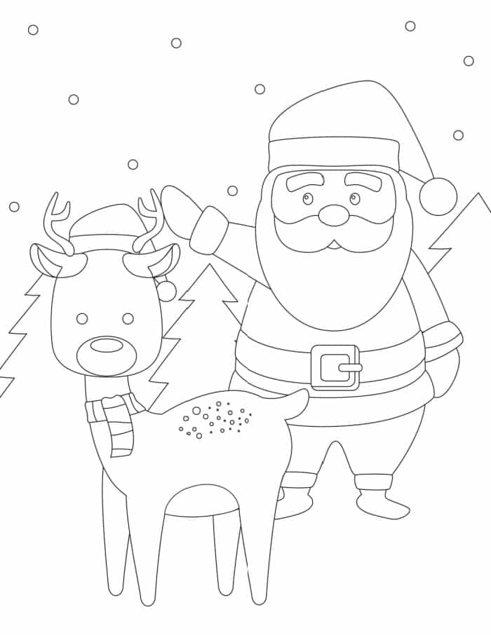 Santa and reindeer go together like peanut butter and jelly—so there has to be a santa and reindeer coloring page, right?