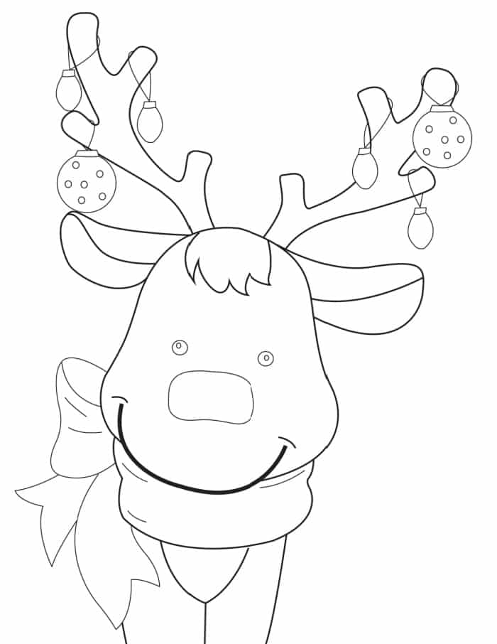 A red crayon is all it takes to make this a Rudolph the Red Nose Reindeer coloring page!