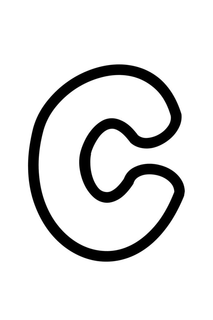 free printable bubble letter C