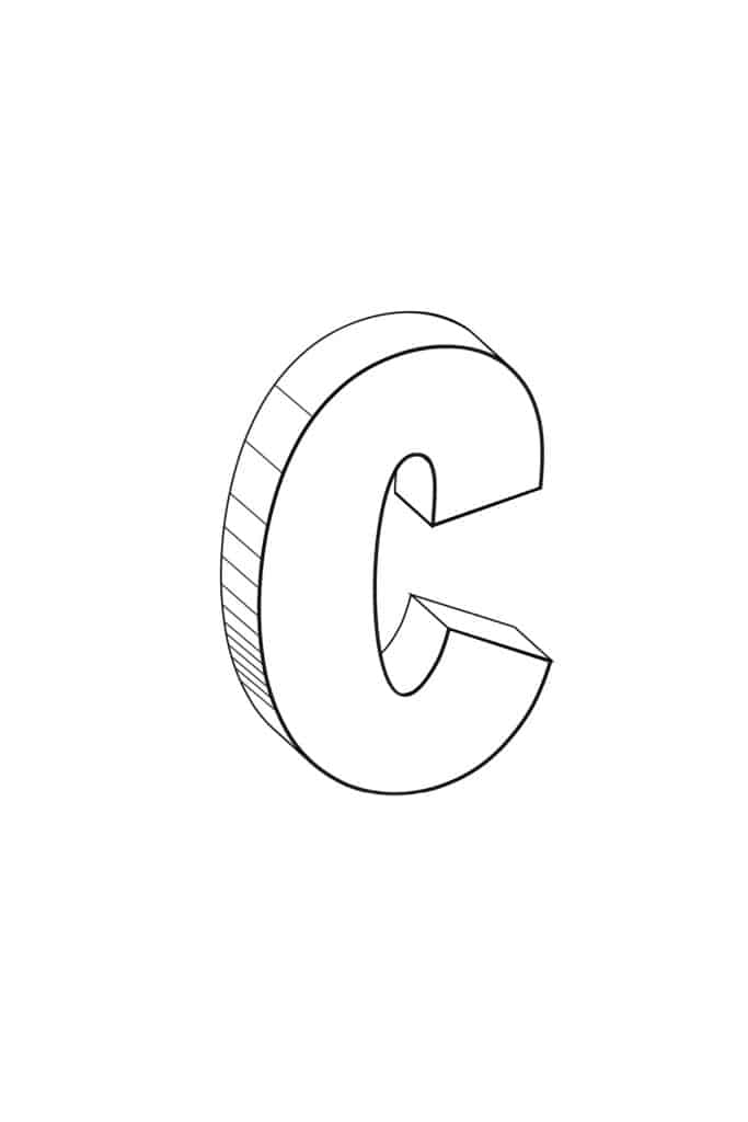 Free Printable Cool Bubble Letters: Bubble Letter C
