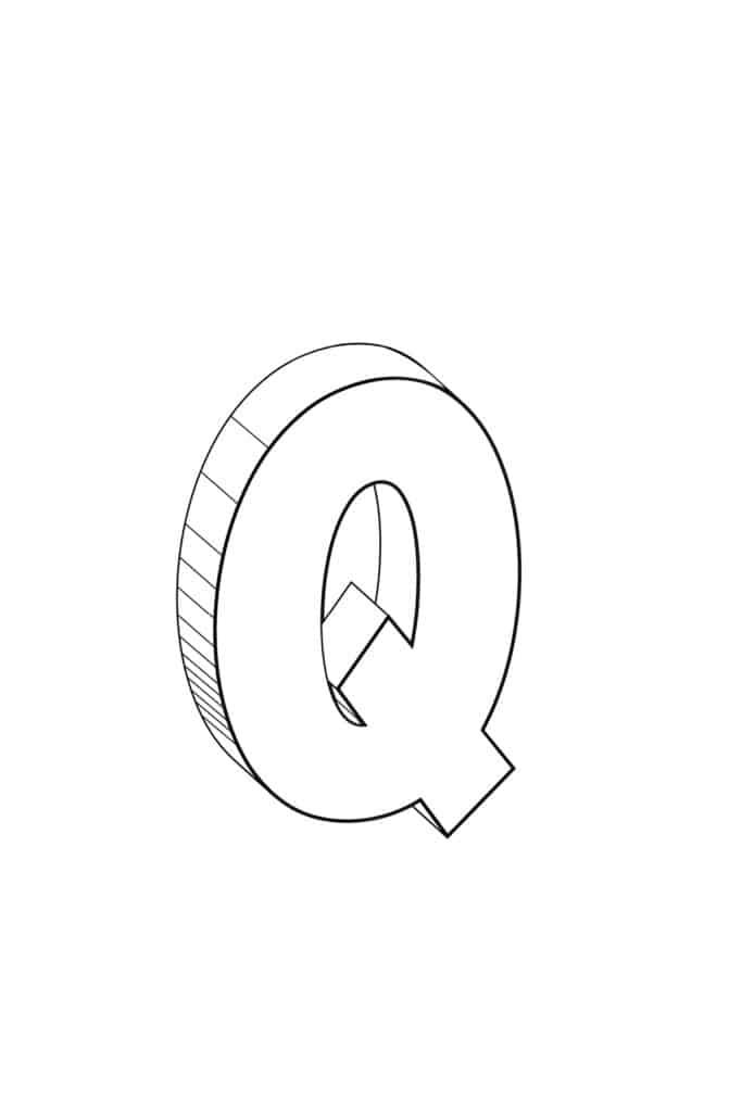 Free Printable Cool Bubble Letter Q