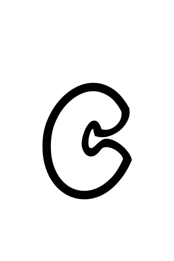 Lowercase C Bubble Letter Stencil