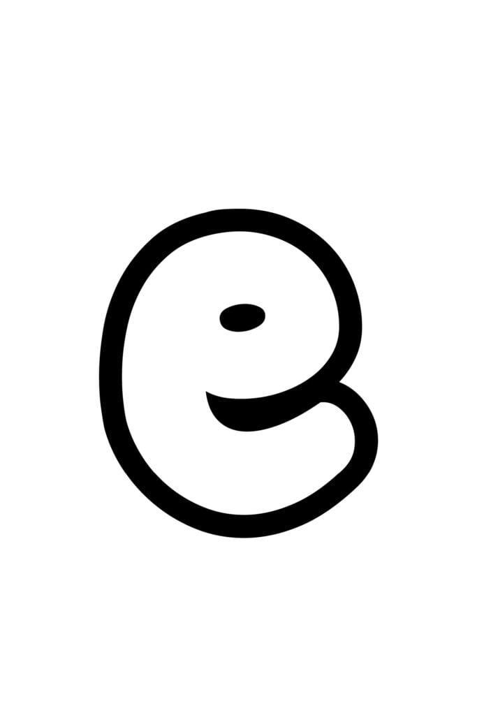 Free Printable Lowercase E Bubble Letter Stencil