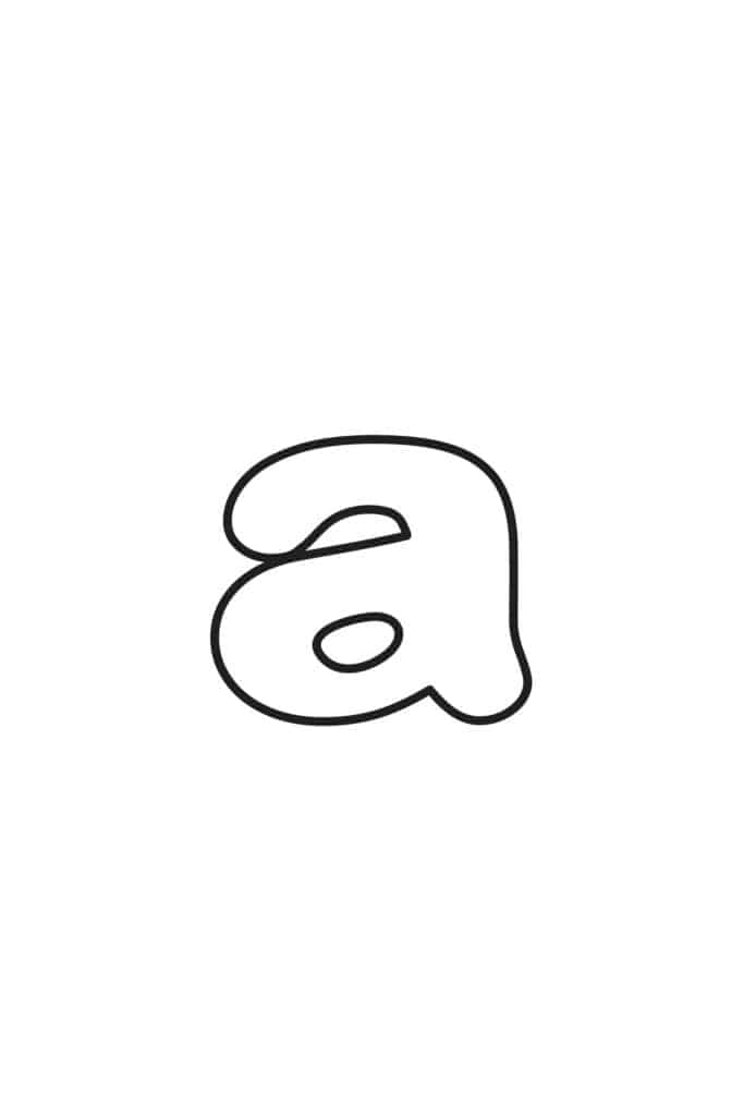 free printable lowercase bubble letter A