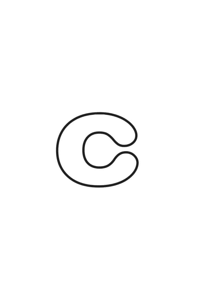 free printable lowercase bubble letter C