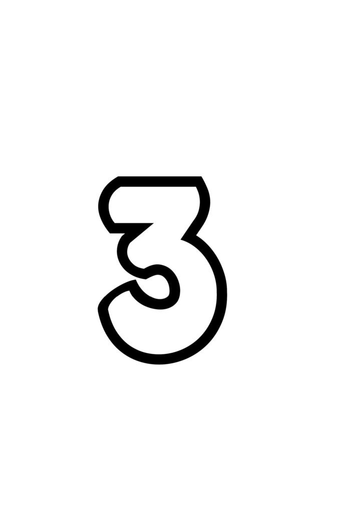 free printable bubble number 3