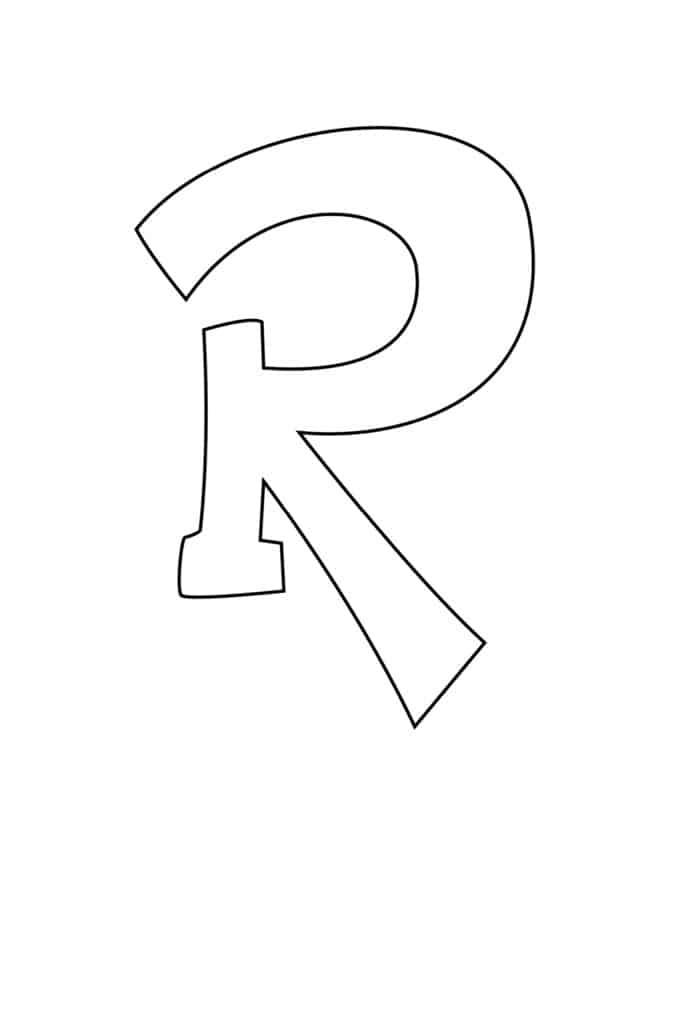 Graffiti Bubble Letter R Printable