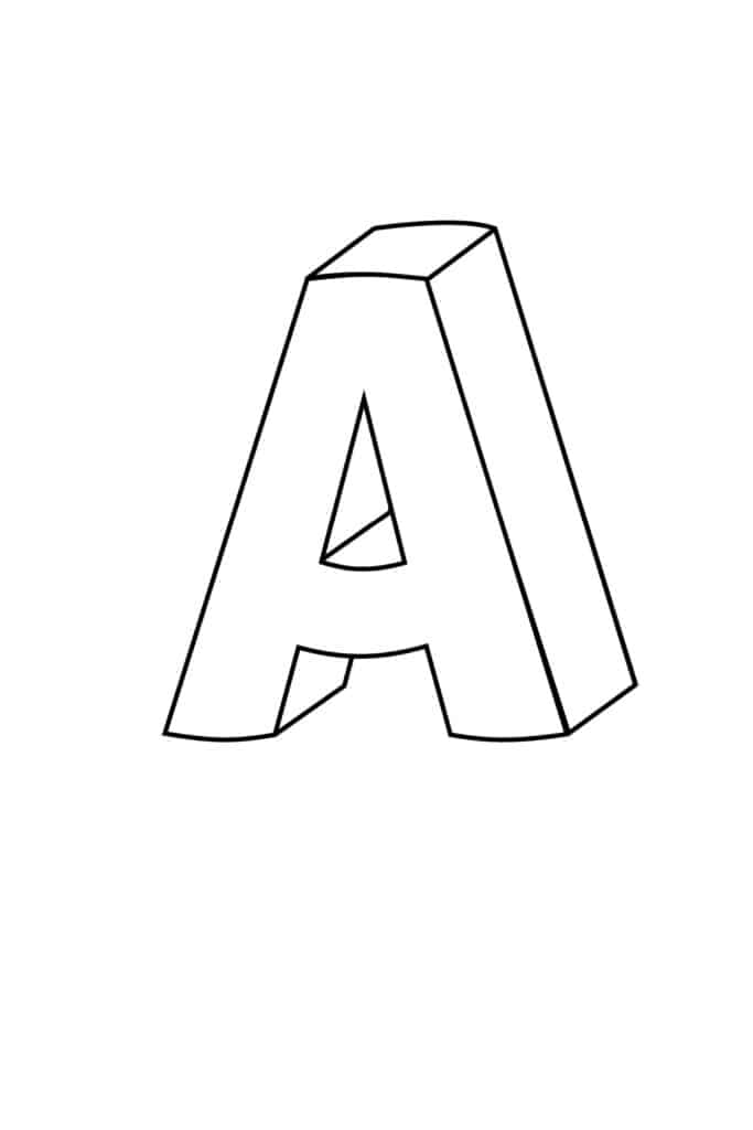 free printable 3D bubble letter A
