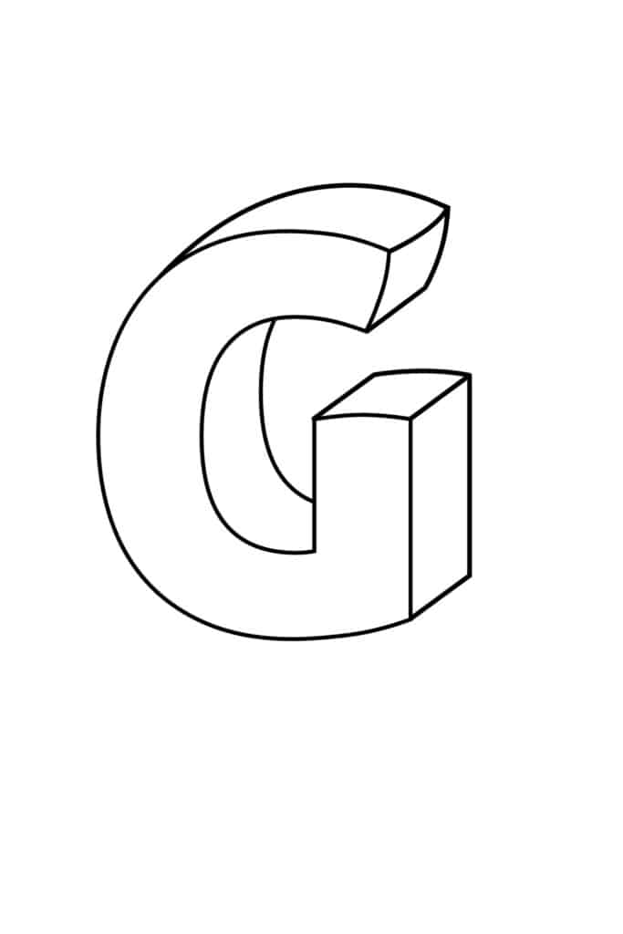 Printable 3D Bubble Letter G