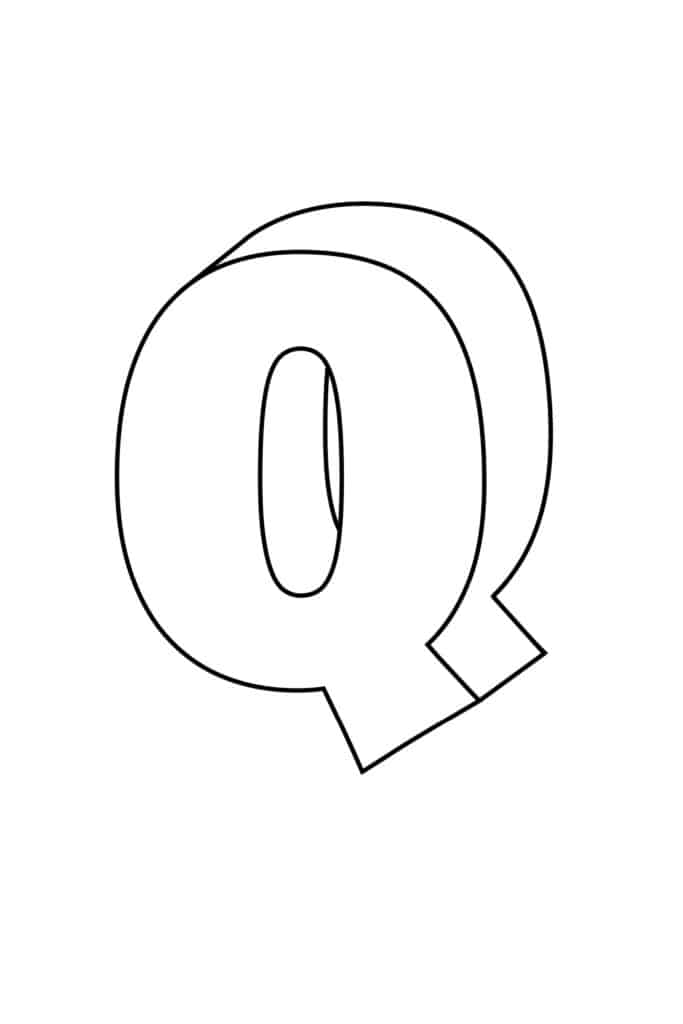 Printable 3D Bubble Letter Q