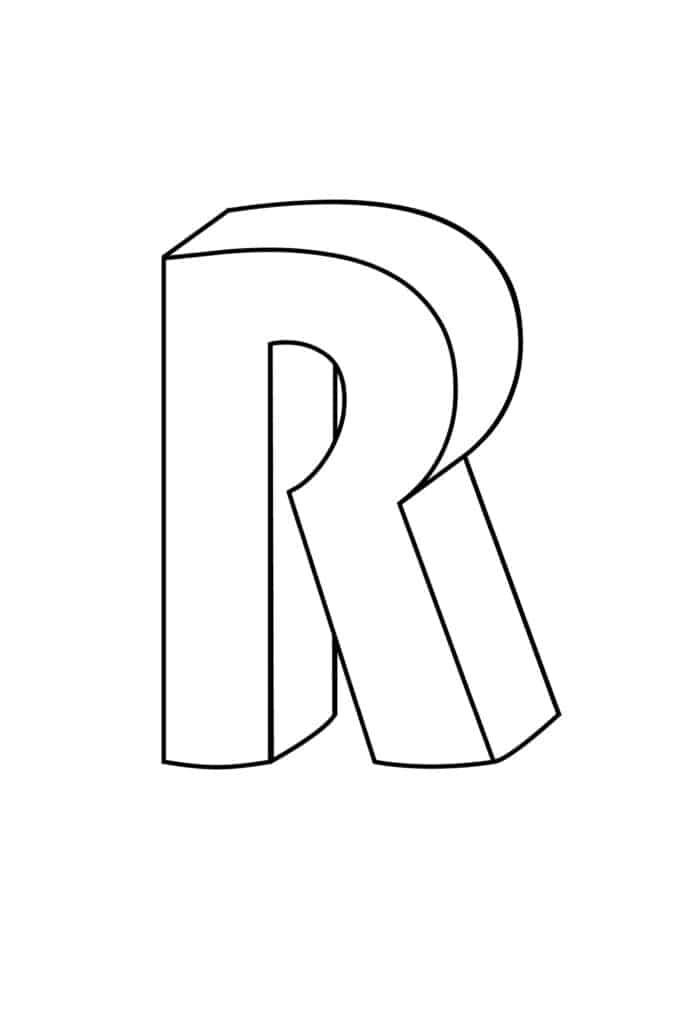 Printable 3D Bubble Letter R