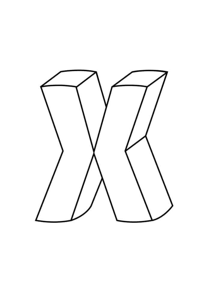 Printable 3D Bubble Letter X