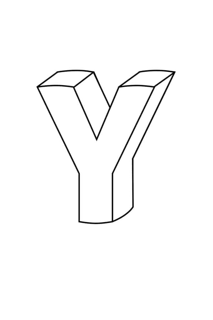 Printable 3D Bubble Letter Y