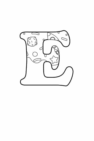 Printable Bubble Letters Outer Space Letter E