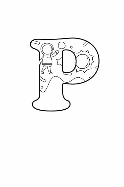 Printable Bubble Letters Outer Space Letter P