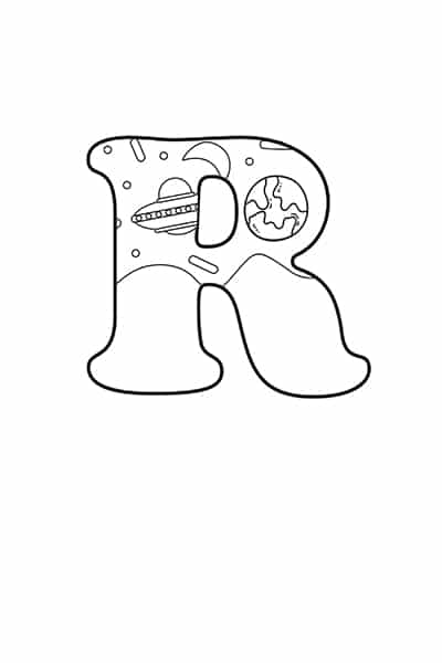 Printable Bubble Letters Outer Space Letter R
