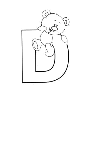 Printable Bubble Letters Teddy Bear Letter D