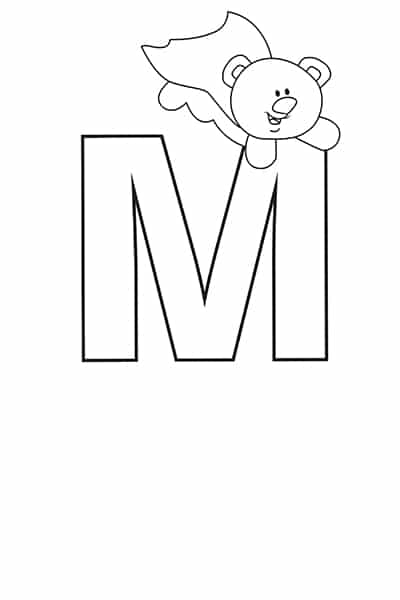 Printable Bubble Letters Teddy Bear Letter M