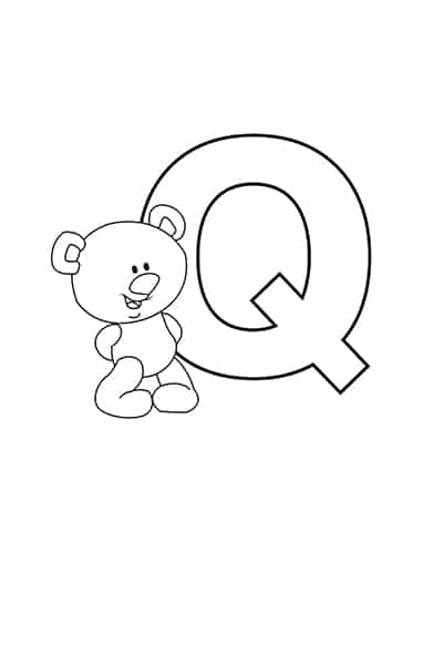 Printable Bubble Letters Teddy Bear Letter Q
