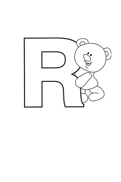 Printable Bubble Letters Teddy Bear Letter R