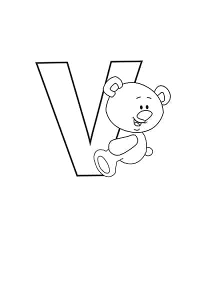 Printable Bubble Letters Teddy Bear Letter V