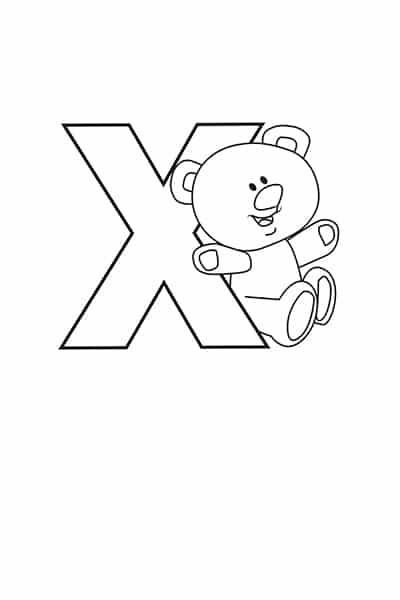 Printable Bubble Letters Teddy Bear Letter X