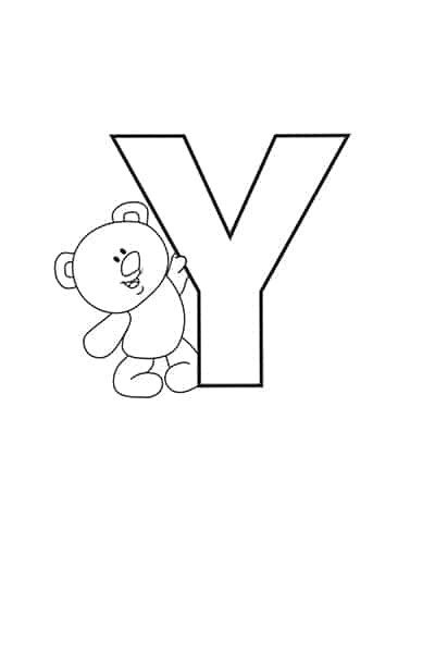 Printable Bubble Letters Teddy Bear Letter Y