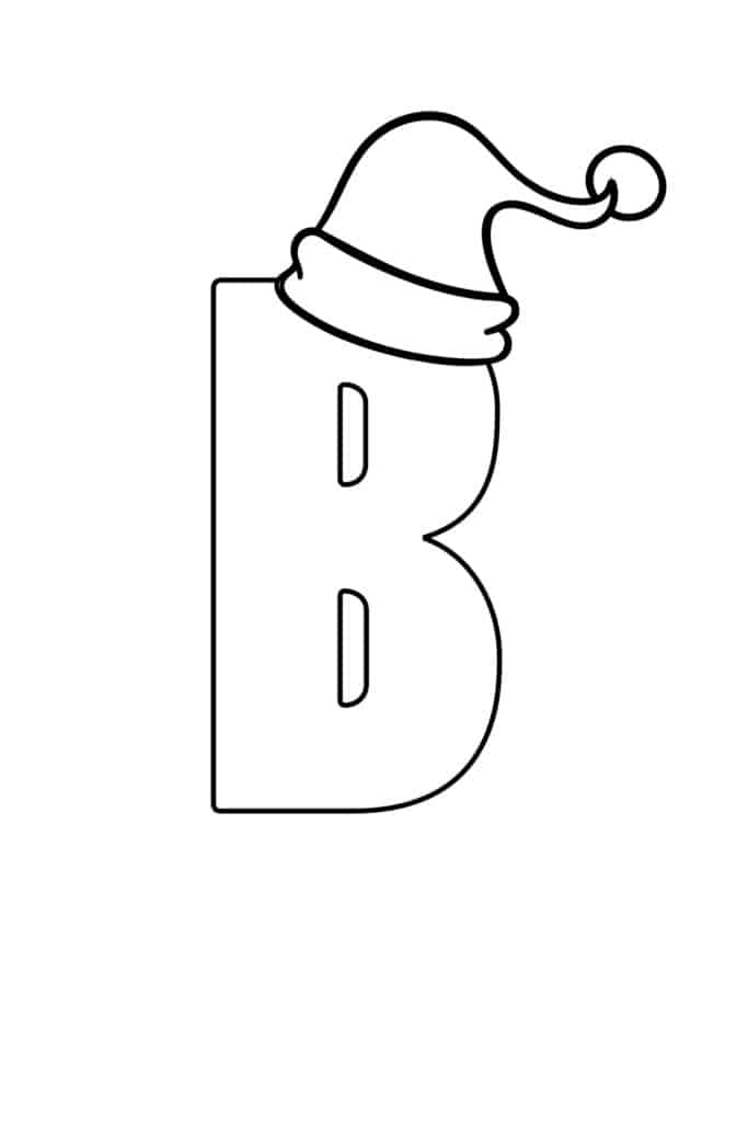 free printable Christmas bubble letter B