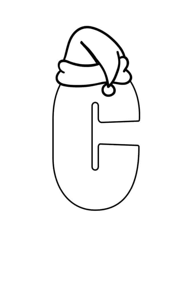 free printable Christmas bubble letter C