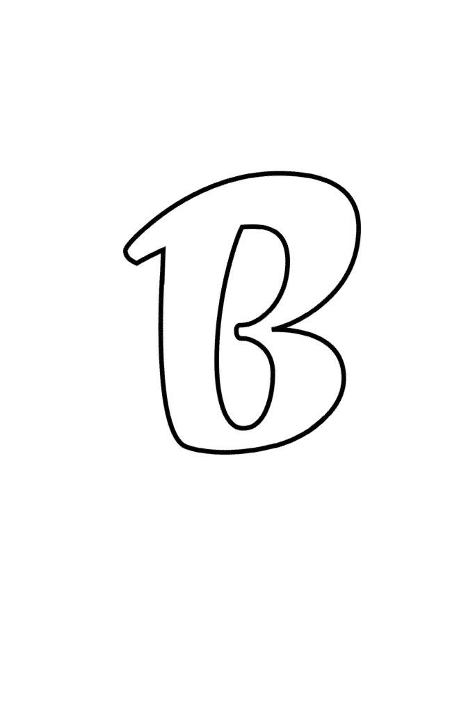 free printable cursive bubble letter B