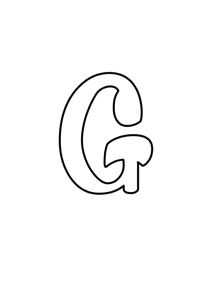 Printable Cursive Bubble Letter G