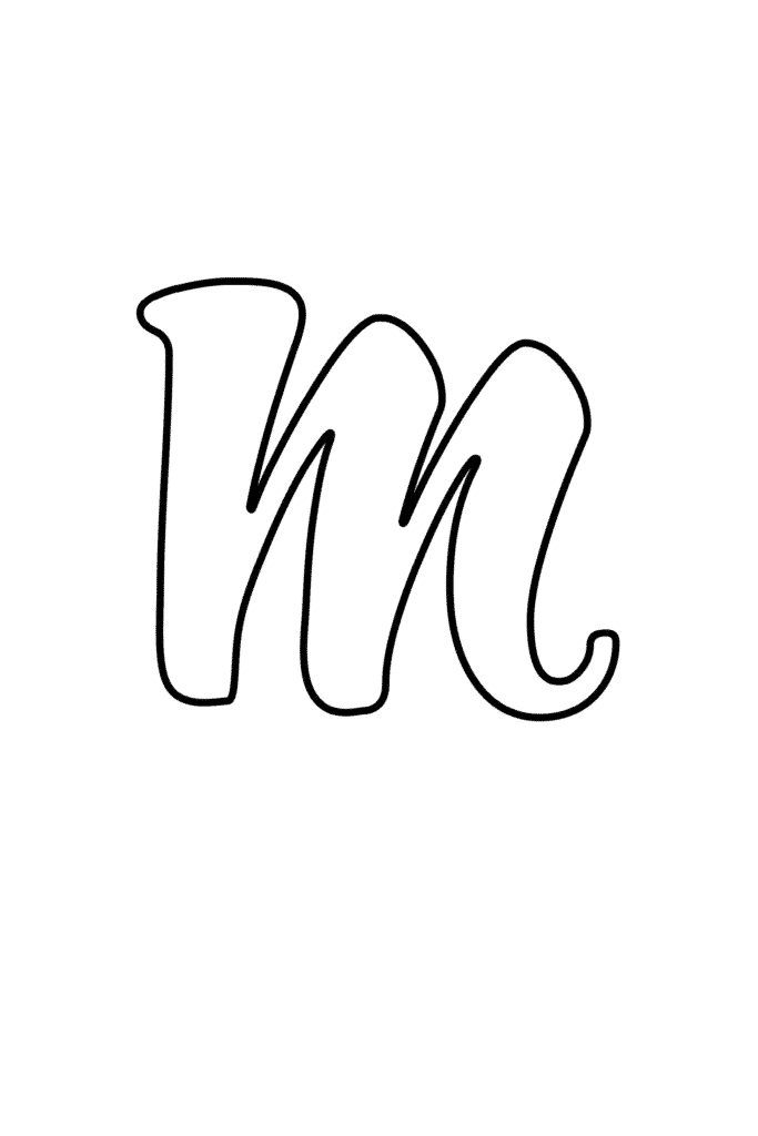 Printable Cursive Bubble Letter M