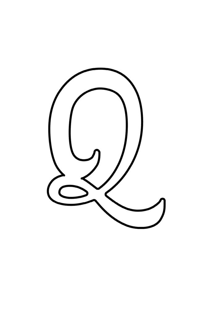 Printable Cursive Bubble Letter Q