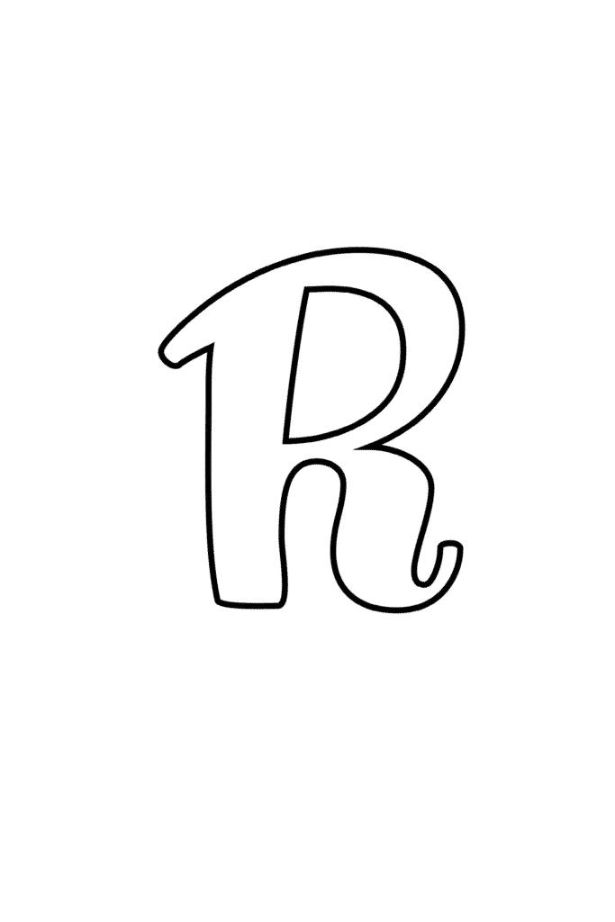 Printable Cursive Bubble Letter R